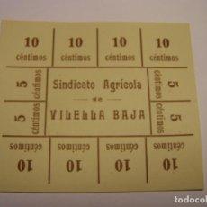 Monedas locales: VALE MONETARIO ANTIGUO DEL SINDICATO AGRÍCOLA DE LA VILELLA BAIXA.. Lote 259054960