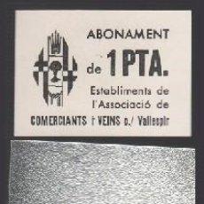 Monedas locales: F2-24 VALE MONEDA DE 1PTA EMITIDO POR ASSOCIACIO DE COMERCIANTS I VEINS DE LA CALLE VALLESPIR DE BA. Lote 260458125