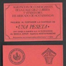 Monedas locales: F2-25 VALE MONEDA DE UNA PESETA EMITIDO POR EL MERCADO DE HOSTAFRANCHS ANTE LA FALTA DE MONEDA DIVI. Lote 260464495