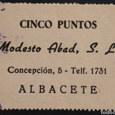 Monedas locales: VALE DE MODESTO ABAD - 5 PUNTOS - ALBACETE. Lote 261962775