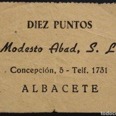 Monedas locales: VALE DE MODESTO ABAD - 10 PUNTOS - ALBACETE. Lote 261962840
