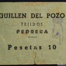 Monedas locales: VALE - GUILLEN DEL POZO - 10 PESETAS - PEDRERA - SEVILLA. Lote 261964360