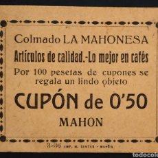 Monedas locales: VALE CUPÓN - COLMADO LA MAHONESA - 50 CÉNTIMOS - MAHÓN - MENORCA. Lote 261966410