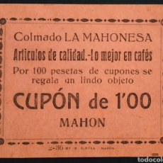 Monedas locales: VALE CUPÓN - COLMADO LA MAHONESA - 1 PESETA - MAHÓN - MENORCA. Lote 261966465