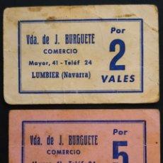 Monedas locales: VALES DEL COMERCIO - J. BURGUETE - LUMBIER - NAVARRA. Lote 261968035