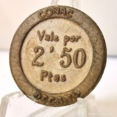 Monnaies locales: ⚜️ FICHA 2,50 PESETAS COÑAC DECANO. AÑOS 60/70. PLÁSTICO. 0,5G / 23MM. MUY BUEN EJEMPLAR. AC666. Lote 262448860