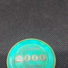Monedas locales: FICHA GRAN CASINO DE BARCELONA DE 2.000 PESETAS DE COLOR VERDE. SE FABRICARON MUY POCAS.. Lote 262966920