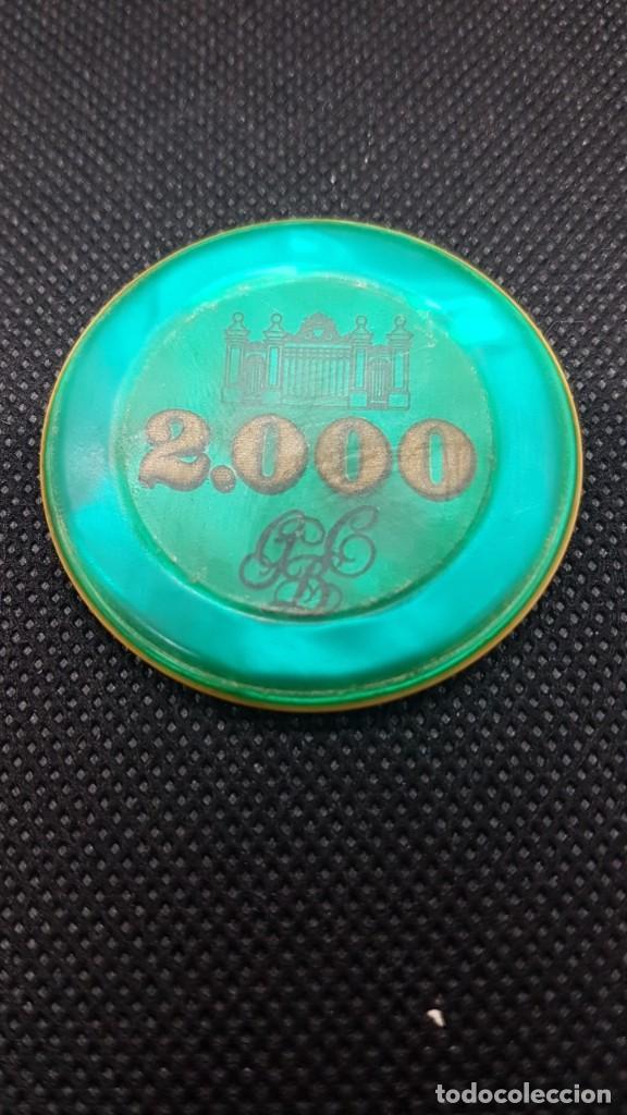 Monedas locales: Ficha Gran Casino de Barcelona de 2.000 pesetas de color VERDE. Se fabricaron MUY POCAS. - Foto 2 - 262966920