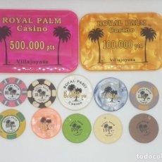 Monedas locales: COLECCIÓN DE FICHAS DEL CASINO DE VILLAJOYOSA ROYAL PALM. BRUTAL!!!. Lote 268073959