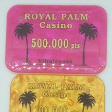 Monedas locales: 2 CASINO DE VILLAJOYOSA ROYAL PALM. MUY DIFICILES DE CONSEGUIR. Lote 268074209