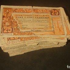 Monedas locales: LOTE DE MUCHISIMOS BILLETES DE LLEIDA 1937 DE 25 Y 50 CENTIMOS , LEER DESCRIPCION. Lote 268998354