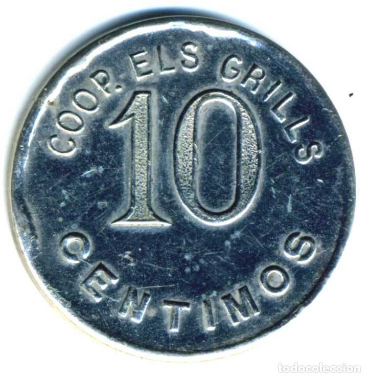 XS- BADALONA COOPERATIVA ELS GRILLS 10 CTS. LL- 765 NIQUELADA (Numismática - España Modernas y Contemporáneas - Locales y Fichas Dinerarias y Comerciales)
