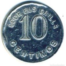 Monedas locales: XS- BADALONA COOPERATIVA ELS GRILLS 10 CTS. LL- 765 NIQUELADA. Lote 268998624