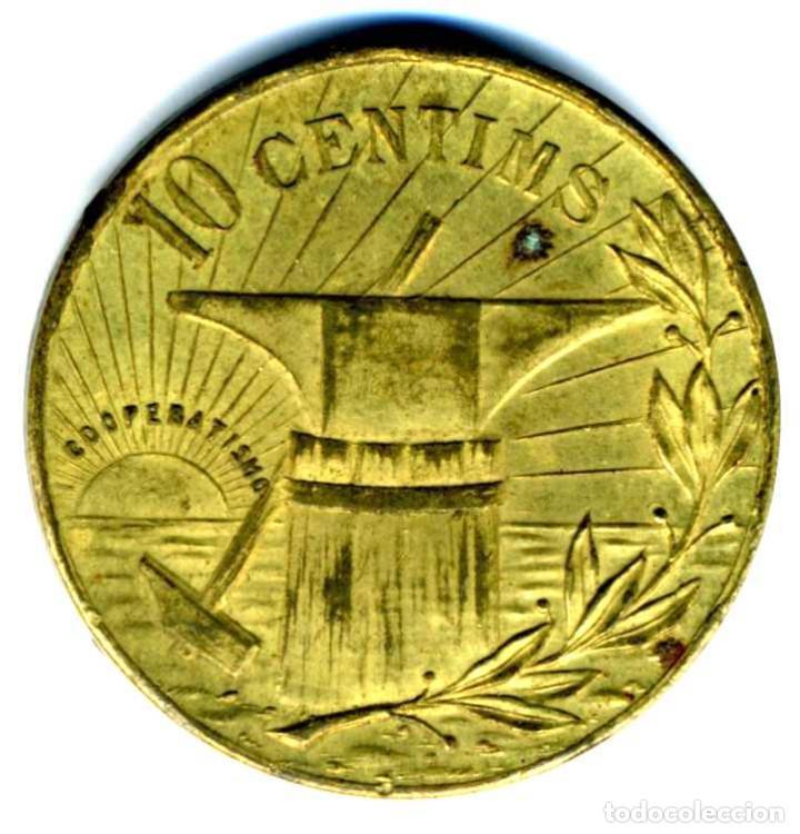 XS- POBLE NOU (BARCELONA) COOPERATIVA LA FLOR DE MAIG 10 CTS. LL-1541 PRECIOSA (Numismática - España Modernas y Contemporáneas - Locales y Fichas Dinerarias y Comerciales)