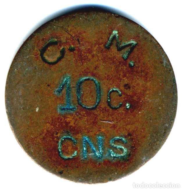 XS- MASNOU COOPERATIVA 10 CTS. CENTRAL NACIONAL SINDICALISTA CNS LL-442 (R) (Numismática - España Modernas y Contemporáneas - Locales y Fichas Dinerarias y Comerciales)