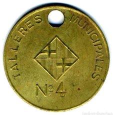 Monedas locales: XS- BARCELONA GITÓ NUMERAT TALLERES MUNICIPALES 37 MM LLAUTÓ. Lote 269000224