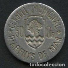 Monedas locales: GUERRA CIVIL, FICHA, CONSEJO MUNICIPAL DE ARENYS DE MAR, VALOR: 50 CÉNTIMOS. Lote 269313483