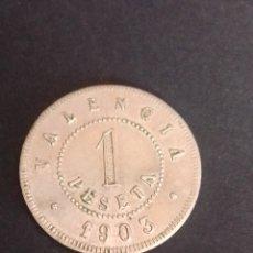 Monedas locales: FICHA/JETON/TOKEN. SOCIEDAD COOPERATIVA PARA EL SOCORRO OBRERO. VALENCIA. MBC+.. Lote 270108963