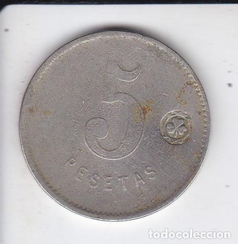 FICHA DE LA COOPERATIVA EL RELOJ Y LA DIGNIDAD DE 5 PESETAS (MONEDA) (Numismática - España Modernas y Contemporáneas - Locales y Fichas Dinerarias y Comerciales)