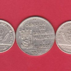 Monedas locales: MONEDAS GUERRA CIVIL - SANTANDER PALENCIA Y BURGOS -1 PESETA Y 2 DE 50 CÉNTIMOS 1937 (MBC/EBC-). Lote 276284798