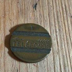 Monedas locales: FICHA DE TELEFONO DE TELEFONICA RARA T Y FLECHA PLUMAS. Lote 276556028