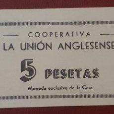 Monedas locales: LA UNIÓN ANGLESENSE - ANGLÉS - 5 PESETAS - COOPERATIVA. SC. Lote 277151668