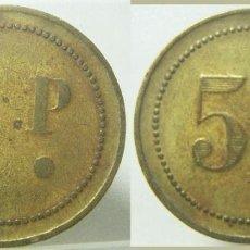 Monedas locales: VIEJA FICHA DINERARIA A IDENTIFICAR 5 P MIDE 30 MM. Lote 277552323