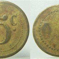 Monedas locales: VIEJA FICHA CON EL Nº 5 CON RESELLO DE UNA HOJA MIDE 20 MM. Lote 277552663
