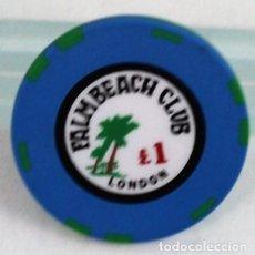 Monedas locales: FICHA DE CASINO, PALM BEACH CLUB,LONDON,1 LIBRA. Lote 280122553