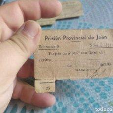 Monedas locales: RARA TARJETA DE 5 PESETAS PRISION PROVINCIAL DE JAEN MAYO 1937. Lote 282206938
