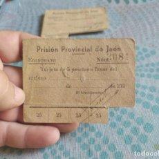 Monedas locales: RARA TARJETA DE 5 PESETAS PRISION PROVINCIAL DE JAEN 1937/1938. Lote 282207028