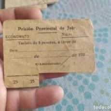 Monedas locales: RARA TARJETA DE 5 PESETAS PRISION PROVINCIAL DE JAEN SEPTIEMBRE 1937/ 1938. Lote 282207198