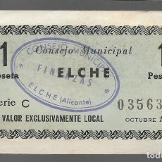 Monedas locales: ELCHE, 1 PTA. CONSEJO MUNICIPAL.- VER FOTOS. Lote 283355808