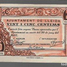 Monedas locales: LLEIDA, 25 CTS,- AJUNTAMENT DE LLEIDA.- VER FOTOS. Lote 283356578