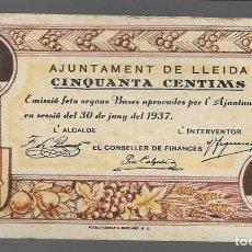 Monedas locales: LLEIDA, 50 CTS,- AJUNTAMENT DE LLEIDA.- VER FOTOS. Lote 283356623