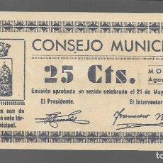 Monedas locales: MONZON, 25 CTS. CONSEJO MUNICIPAL.- VER FOTO. Lote 283357363
