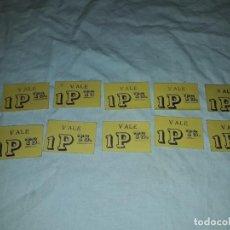 Monedas locales: LOTE DE 10 ANTIGUOS VALES DE 1 PESETA CADA UNO DE LA MERCERÍA BORJA BARCELONA. Lote 285562898