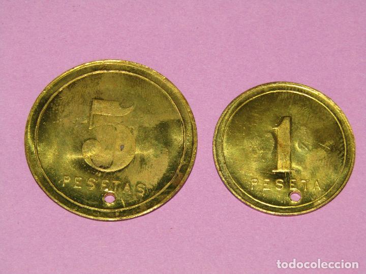 Monedas locales: Antiguas Monedas de 1 y 5 Pesetas SOCIEDAD EL PROGRESO PESCADOR de EL CABAÑAL de Valencia 1902-1924 - Foto 2 - 288539248