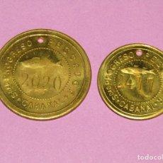 Monedas locales: ANTIGUAS MONEDAS DE 1 Y 5 PESETAS SOCIEDAD EL PROGRESO PESCADOR DE EL CABAÑAL DE VALENCIA 1902-1924. Lote 288539248
