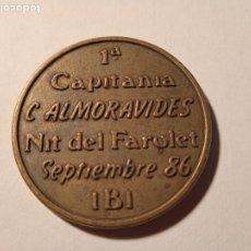 Monedas locales: FICHA EN FICHA EN METAL 1ª CAPITANIA C. ALMORAVIDES. NIT DE FAROLET. SEPTIEMBRE 86. IBI. 3 CM. Lote 288539638