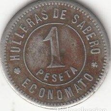 Monedas locales: FICHA: 1 PESETA ECONOMATO - HULLERAS DE SABERO - OLLEROS ( ASTURIAS ). Lote 288974023