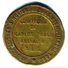 Monedas locales: XS- FICHA PUBLICITARIA CONFITERÍA DE CARLOS PRAST MADRID 1866-1880. Lote 289307608