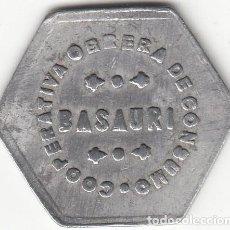 Monedas locales: FICHA: 5 CENTIMOS CARNE - COOPERATIVA OBRERA DE CONSUMO BASAURI ( PAIS VASCO ). Lote 289328733