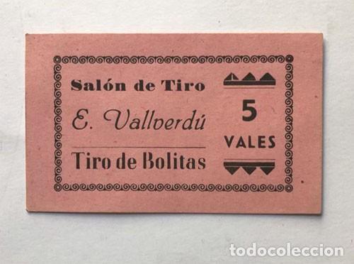 VALE CASETA DE TIRO / ESTÉBAN VALLVERDÚ / TIRO DE BOLITAS / AÑOS 60 / BARCELONA (Numismática - España Modernas y Contemporáneas - Locales y Fichas Dinerarias y Comerciales)