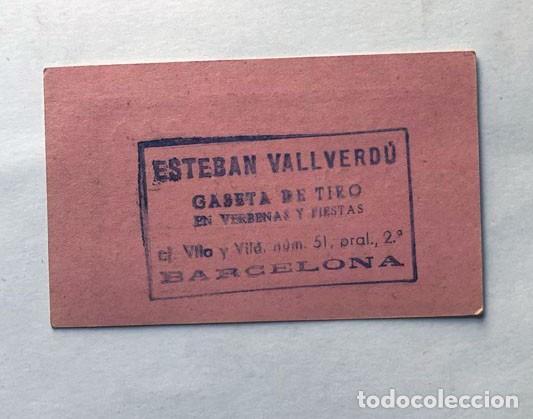 Monedas locales: VALE CASETA DE TIRO / ESTÉBAN VALLVERDÚ / TIRO DE BOLITAS / AÑOS 60 / BARCELONA - Foto 2 - 289818063