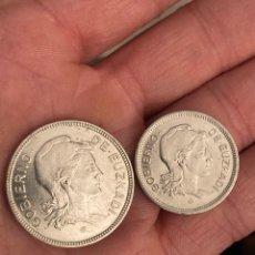 Monedas locales: GOBIERNO DE EUZKADI 1 Y 2 PESETAS 1937. Lote 290311778
