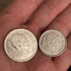 Monedas locales: GOBIERNO DE EUZKADI 1 Y 2 PESETAS 1937. Lote 290311833