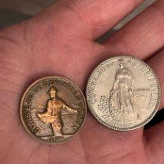 Monedas locales: CONSEJO DE ASTURIAS Y LEON 1 Y 2 PESETAS 1937. Lote 290312043