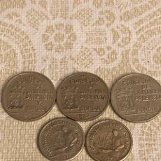 Monedas locales: CONSEJO SANTANDER PALENCIA Y BURGOS 1937, 5 PIEZAS. Lote 290312218