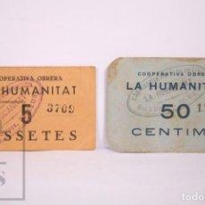 Moedas locais: RESERVADO - CONJUNTO DE 2 VALES / FICHAS - SOCIEDAD COOPERATIVA OBRERA LA HUMANITAT - REUS -. Lote 291465498